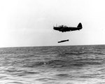 TBD-1 Devastator aircraft 6-T-10 of Torpedo Squadron 6 dropped a Mark XIII torpedo during exercises in the Pacific, 20 Oct 1941