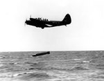 TBD-1 Devastator aircraft 6-T-4 of Torpedo Squadron 6 dropped a Mark XIII torpedo during exercises in the Pacific, 20 Oct 1941