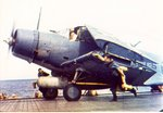TBD Devastator torpedo bomber on the flight deck of USS Hornet, circa 15 May 1942