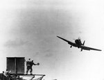 TBD-1 Devastator torpedo bomber of Torpedo Squadron 6 landing on Enterprise, 4 May 1942
