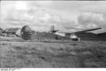 German DFS 230 glider landing, Italy, 1943, photo 1 of 2; note use of parachute to decelerate