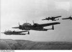A flight of German Do 17 Z bombers over France or Belgium, possibly en route to Britain, circa 1940