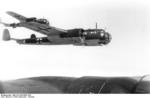 A flight of German Do 17 Z bombers of Kampfgeschwader 3 over France or Belgium, possibly en route to Britain, Sep-Oct 1940
