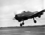 FR-1 Fireball fighter of US Navy squadron VF-41 landing aboard escort carrier USS Bairoko, 13 Mar 1946; this aircraft