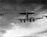 B-17 Flying Fortress bombers of USAAF 398th Bombardment Group on bombing run to Neum?nster, Germany, 13 Apr 1945