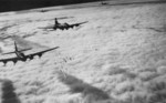 B-17F Flying Fortress bombers bombing Bremen, Germany through clouds with the aid of radar, 13 Nov 1943