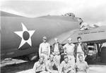 T/Sgt. Raymond A. Heilman, Jr. and fellow crew of the 11th Bomber Group Heavy of the USAAF 42nd Squadron posing by a B-17 Flying Fortress bomber, US Territory of Hawaii, circa late 1941 or early 1942