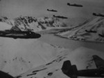 G3M bombers in flight in the Aleutian islands, 1942-1943