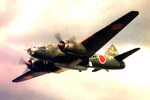 G4M2E Model 24 Tei bomber of Japanese Kokutai 721 carrying a MXY7 Ohka bomb, 1945