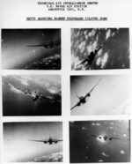 Six gun camera photos of a G4M2e Model 24 Tei bomber carrying MXY7 Model 11 Ohka bombs, 1945