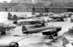 J1N1-S, G4M, C6N, and D4Y aircraft at Yokosuka Naval Air Depot, Japan, late 1945, photo 1 of 2