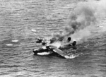 H6K flying boat burning in the water, 1944