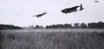 Hamilcar gliders carrying light armored vehicles coming into landing near Ranville, France, afternoon of 6 Jun 1944; note gliders