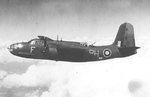 British Boston III bomber of No. 88 Squadron RAF in flight, circa 1942