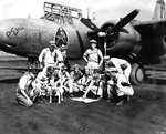 Major Walker of USAAF 3rd Bomb Group briefing pilots before a mission, Hollandia, Dutch New Guinea, mid-1944