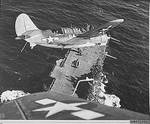 Helldiver aircraft over Hornet, South China Sea, mid-Jan 1945, photo 2 of 2