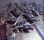 SB2C Helldiver aircraft on the flight deck of carrier Yorktown, circa Jul-Sep 1943
