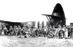 US troops preparing to board Horsa gliders for Normandy, France assault, England, United Kingdom, Jun 1944, photo 2 of 2; note RAF markings recently painted over with USAAF markings