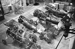 I-15 fighters under repair in a factory, Moscow, Russia, 22 Dec 1941