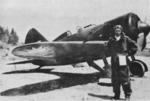 Chinese Air Force ace Liu Che-Sun posing in front of his I-16 fighter, circa 1937 to early 1938