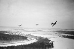 A formation of Soviet Il-2 aircraft in flight near Moscow, Russia, 1 Dec 1941