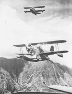 Two US Navy J2F Duck aircraft in flight over Oahu, US Territory of Hawaii, early 1940s