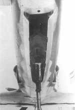 Close-up view of the under section of the J7W Shinden prototype aircraft, 1945