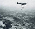 Ju 52/3m aircraft dropping bombs, date unknown
