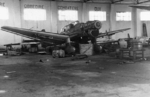 Captured Ju 87B dive bomber in a hangar at Benina, Libya, 15 Jan 1942