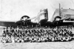 Middle school children in Taiwan taking a group photograph with a visiting Japanese Army Ki-2 bomber and crew, date unknown