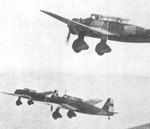 Three Ki-30 aircraft in flight, date unknown