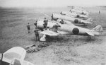 Ki-44 fighters lined up at a Japanese airfield, date and location unknown