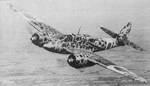 Camouflaged Ki-45 aircraft in flight, date unknown