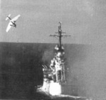 Ki-51 special attack aircraft of Japanese Army Sekicho Squadron diving at USS Columbia in Lingayen Gulf, Philippine Islands, at 1729 hours on 6 Jan 1945; photograph taken from USS California