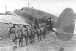 Japanese paratroopers boarding a Ki-56 transport aircraft, date unknown