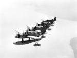 A formation of OS2U Kingfisher aircraft in flight, 1943