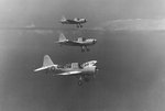 Land-variant OS2U Kingfisher aircraft of US Navy Scouting Squadron 44 flying convoy protection and anti-submarine patrols, Hato Field, Curaçao, Dutch West Indies, 2 Nov 1942-1 Feb 1943, photo 2 of 3