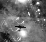 Lancaster bomber of No 1 Group, RAF Bomber Command over Hamburg, Germany, night of 30-31 Jan 1943