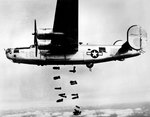 A B-24M-1-FO Liberator bomber of the 15th Air Force released its bombs on the railyards at Muhldorf, Germany, 19 Mar 1945