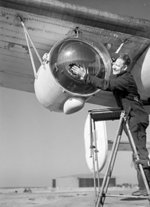 Anti-submarine Leigh Light installed beneath the wing of a Liberator bomber of the RAF Coastal Command, 26 Feb 1944