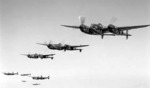 P-38 Lightning aircraft flying in formation, 1941-1942