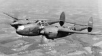 P-38 Lightning aircraft in flight, before Jul 1943