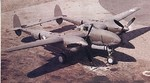 P-38 Lightning aircraft resting on an unknown airfield, 1942