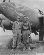 USAAF Lieutenant Everett A. Thies and his crew chief Technical Sergeant Daniel Nobel posing by their F-5C Lightning reconnaissance aircraft