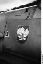 Close-up view of the forward port side of a Bf 109 fighter, 1939-1940; note Edelweiss painted on the hull
