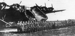 German soldiers being reviewed in front of a Me 323 Gigant aircraft, date unknown