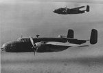 B-25 Mitchell bombers of the US 42nd Bomber Group practicing skip-bombing off New Caledonia, 13 Aug 1943
