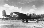 B-25A Mitchell bomber of the 17th Bomber Group, US 34th Bomber Squadron at McChord Army Air Force field, Washington, United States, 1941; note Thunderbird insignia of 34th Bomber Squadron