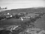 Toyohara Airfield under US parafrag attack, Taichu (now Taichung), Taiwan, 1945, photo 1 of 2