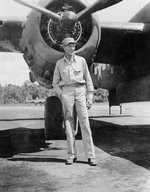 Actor Gary Cooper with a B-25 Mitchell bomber, Dobodura Airfield, Australian Papua, mid-1943